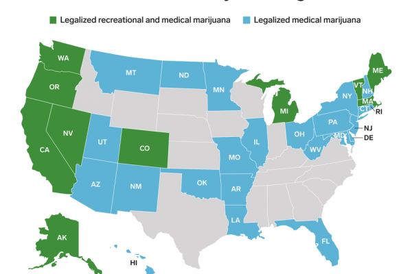 Une carte des États-Unis montrant où la marijuana a été légalisée.
